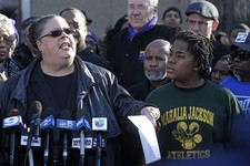 -                Chicago Teachers Union President Karen Lewis speaks outside the Mahalia Jackson Elementary School in Chicago, Thursday, March 21, 2013, about the planned closing of public schools. The