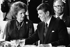 -                FILE - This is a  Sunday, June 6, 1982 file photo of U.S. President Ronald Reagan and Britain's Prime Minister Margaret Thatcher at the lunch table, Sunday, June 6, 1982 at the Palace o