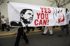-                Isreali right wing activists carry a banner calling for the release of Jonathan Pollard, a Jewish American who was jailed for life in 1987 on charges of spying on the United States, in