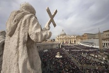 -                Faithful gather in St. Peter's Square at the Vatican Sunday, March 24, 2013. Pope Francis celebrated his first Palm Sunday Mass in St. Peter's Square, encouraging people to be humble an