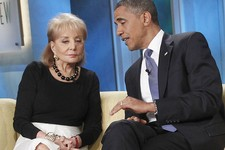 "-                FILE - In this July 28, 2010 file photo, President Barack Obama speaks to Barbara Walters during his guest appearance on ABC's '""The View"" in New York. Walters plans to retire next year"