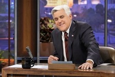 "-                This Nov. 5, 2012 photo released by NBC shows Jay Leno, host of ""The Tonight Show with Jay Leno,"" on the set in Burbank, Calif.  NBC announced Wednesday, April 3, 2013 that Jimmy Fallon"