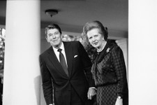 -                FILE - In this June 23, 1982 file photo, President Ronald Reagan and British Prime Minister Margaret Thatcher speak to reporters at the White House in Washington.  Ex-spokesman Tim Bell