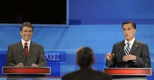 Romney, Perry go after each other in GOP debate