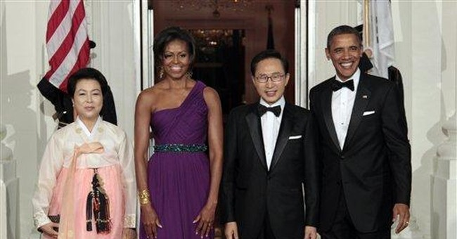 First lady's gown is by Korean-American Chung