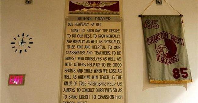 RI atheist student confident in prayer mural suit