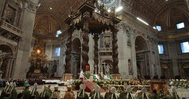 Aging pope uses wheeled platform in St. Peter's