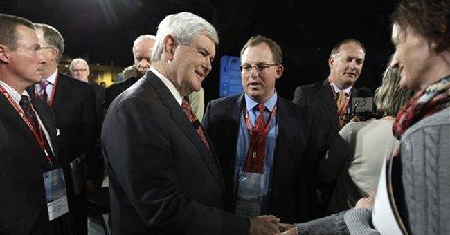 GOP group minus leaders Romney, Cain talk economy