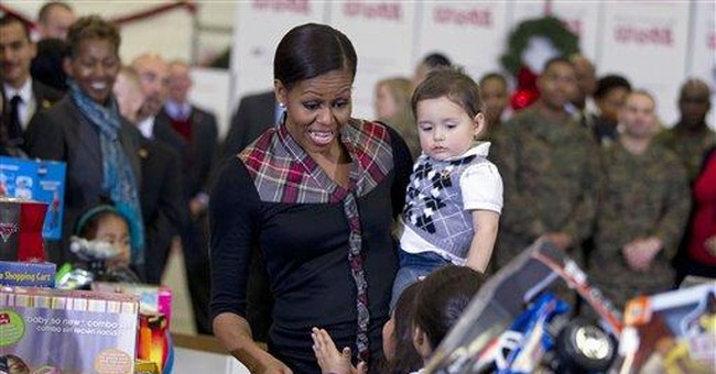 Michelle Obama donates gifts to Toys for Tots