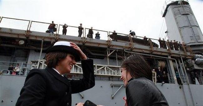2 women share 1st kiss at US Navy ship's return