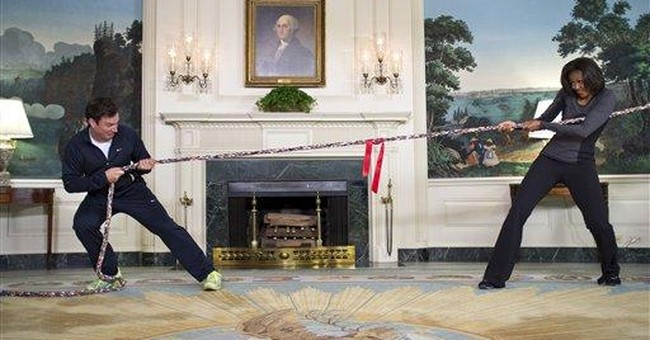 Mrs. Obama beats Fallon in WH fitness challenge