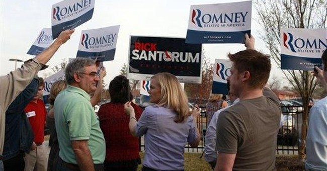 Santorum campaigns in Missouri as caucuses begin