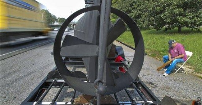 Replica of Civil War sub stuck beside interstate