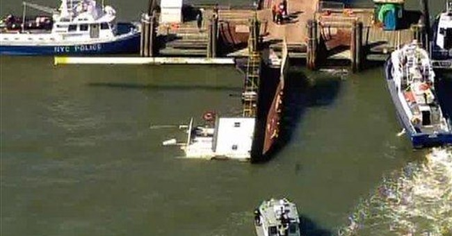 Boat overturns near NY's Liberty Island; 3 rescued