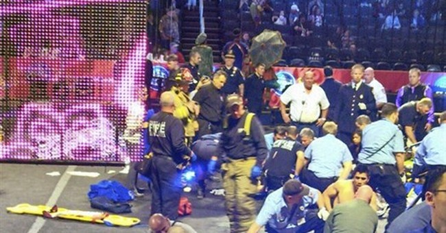 Acrobats fall during Ringling Bros. circus stunt