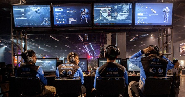 Video game athletes battling it out in California