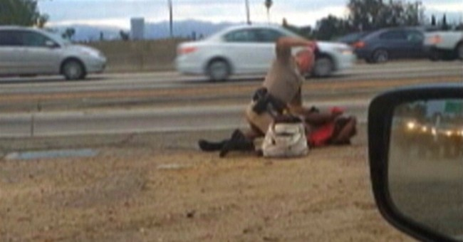Video shows officer punching woman on LA freeway
