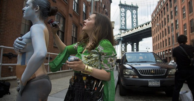 Body-paint artist blends models into NYC landmarks