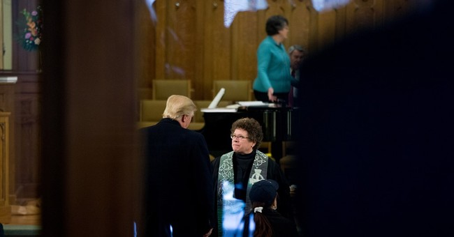 Trump visits Iowa church: gets a lesson in humility