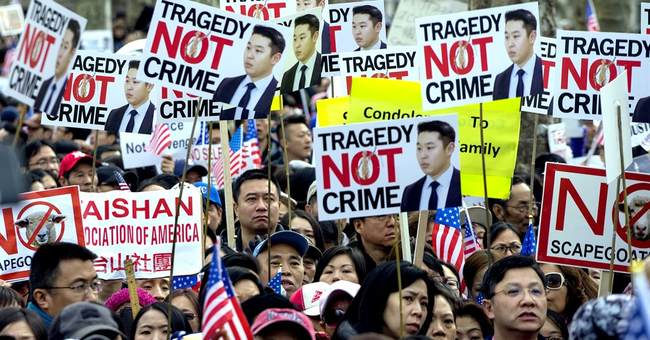 Thousands rally around US over policeman's conviction