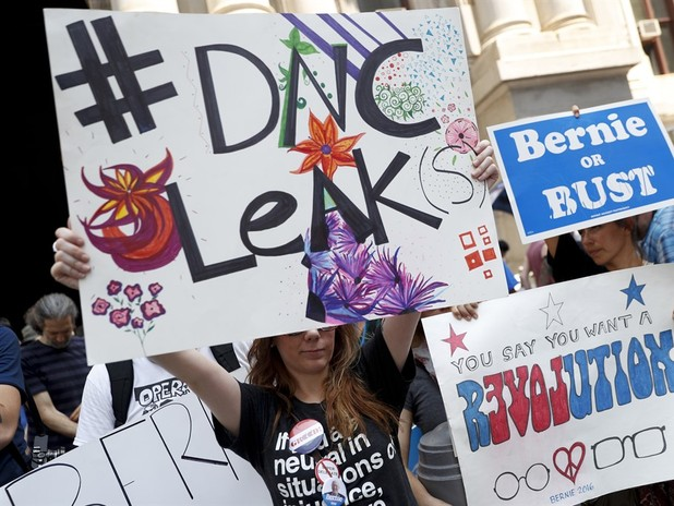 Protesters React To Wikileaks Emails Outside The DNC In Philadelphia