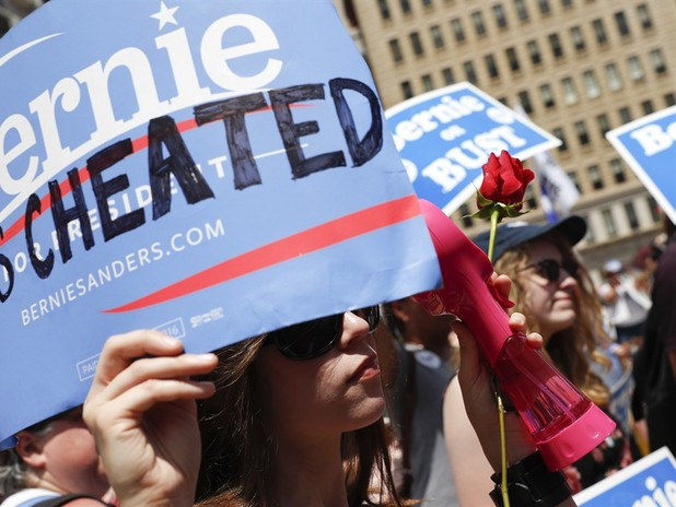 Sanders Fans, Green Party Protest Outside DNC