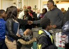 The Obamas helped feed the hungry in southeast Washington, D.C.