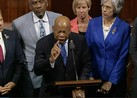 John Lewis, center, and other members of Congress stage a sit-in on the floor of the US House of Representatives.
