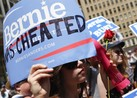 Green Party Presidential Candidate Jill Stein joined Bernie Sanders supporters in a protest outside the Democratic National Convention in Philadelphia on Tuesday night.