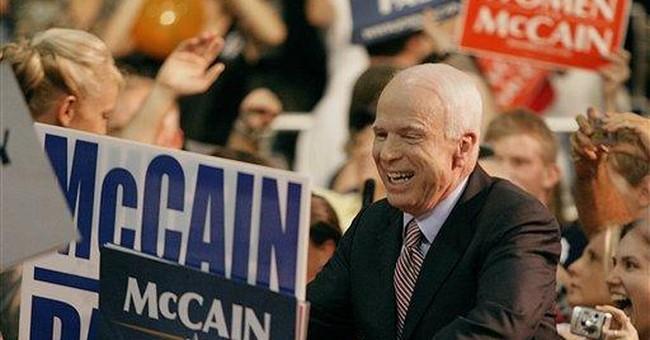 McCain Flies His Campaign Past Obama