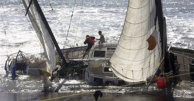 Breaching whale smashes mast of sailboat off Wash.