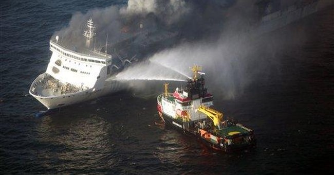 Empty ferry ablaze in Baltic Sea after explosion