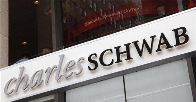 Schwab 3Q earns fall on charge, revenue up