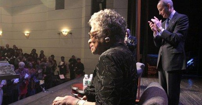 Writer Maya Angelou sings about her love of books