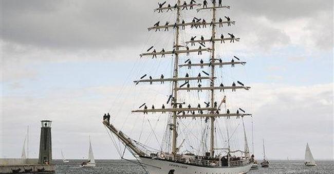 Polish tall ship arrives at UK harbor after storm