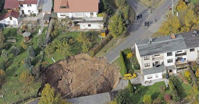 Massive crater opens up in German town