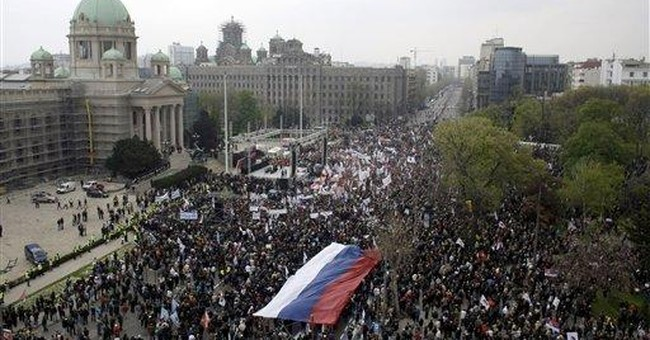 Tens of thousands rally against pro-West Serb govt