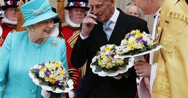 Queen Elizabeth handing out presents on birthday
