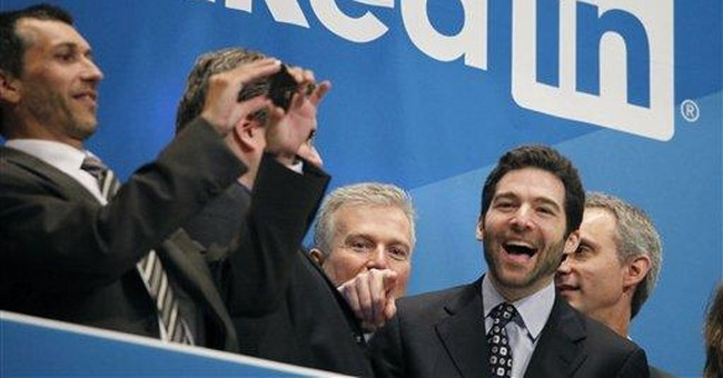 In reminder of '90s, LinkedIn has big first day