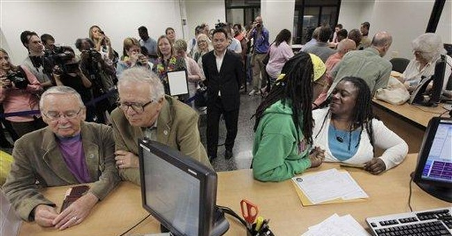 Gay couples line up for Ill. civil union licenses