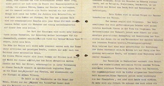 Early Hitler letter on Jews unveiled in NYC
