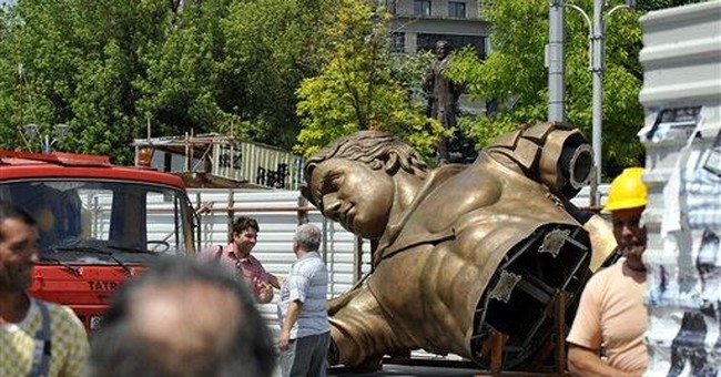 Macedonia erects giant warrior on a horse statue