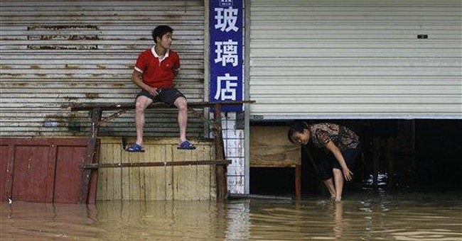 Flooded Chinese river at highest level since 1955