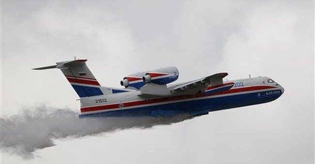 Russian water bomber on display at Paris Air Show