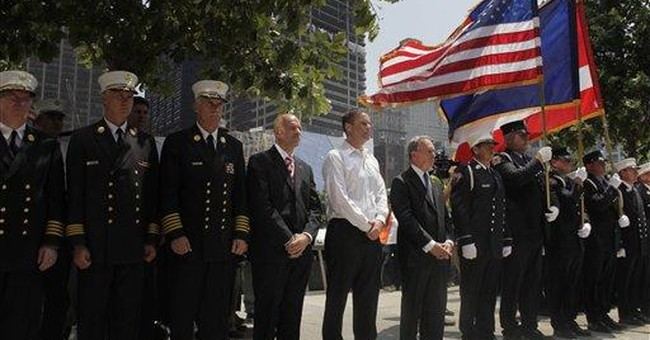 NYC fire truck lowered into 9/11 display