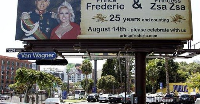 Gabor's husband puts up 25th anniversary billboard