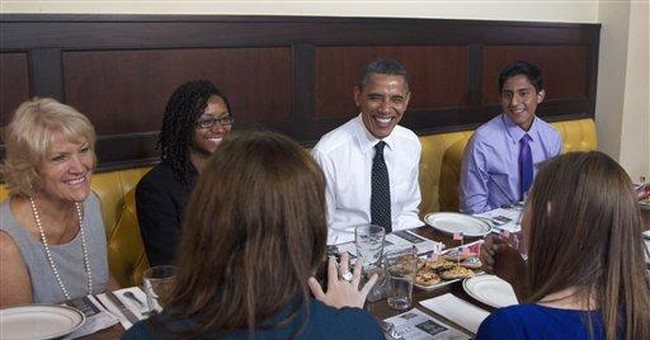 Obama surprises campaign volunteers at lunch in DC
