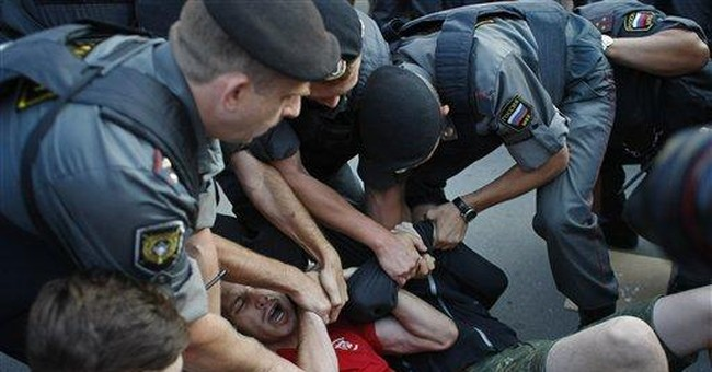 Russian police disperse opposition protest
