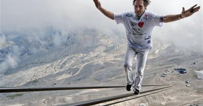 Swiss tightrope walker eyes 7 records in 1 week