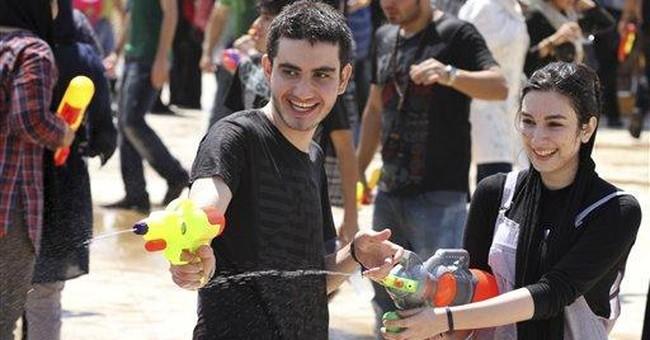 Water gun fight in a park? Iran sees dark designs
